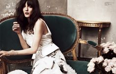 Irina Lazareanu styled in the Zana Bayne 'Peplum Belt' for Femina China, Styled by Kang-Wei Hu, Photo by Nicolas Valois