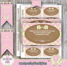 Elephant Diaper Raffle Card It's A Girl Elephant by charmcitycharm