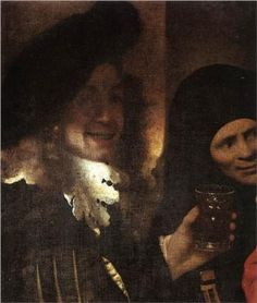 The Procuress, detail (supposed self-portrait) - Johannes Vermeer ~~ Born: 31 October Delft, Netherlands. Johannes Vermeer, Delft, Fantasy Eyes, Renaissance, Art Gallery, Dutch Golden Age, Dutch Painters, Art Database, Illustrations