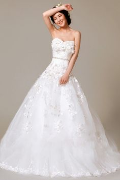 A-line Sweetheart Natural Cathedral Train Sleeveless Flowers Lace-up Satin