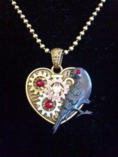 Steampunk Heart Gears and Blackbird Necklace  by KreationsByKimH, $16.00