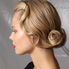 Updo with an old Hollywood glam feel.