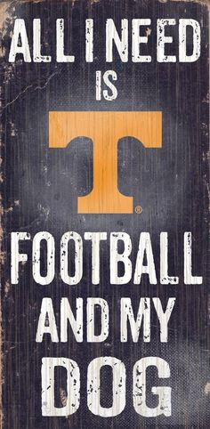 Tennessee Volunteers Wood Sign - Football and Dog 6x12 (backorder)