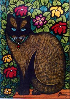 Cats in Art: Fernando Ascani (Argentinian artist) Pretty Cats, Beautiful Cats, I Love Cats, Crazy Cats, Siamese Cats, Cats And Kittens, Illustrations, Illustration Art, Oriental Cat