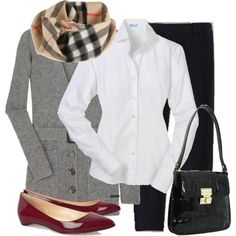 Business casual/professional work outfit: grey sweater, white button up, black skinnies/boot cuts, tartan scarf. I'd go with a grey blazer & red heels.