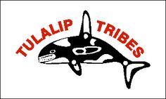 The close association between the people and the life of the Sound is dramatically exhibited in the flag of the Tulalip Tribes. On a simple white field is displayed an orca, or killer whale, both a symbol of strength and power, and a major source of food in the traditional life of the Tulalip people and many of their neighbors in the Washington State area.