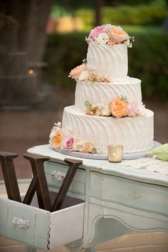 Vintage Wedding Cake Table, Pink, Peach, & Ivory Wedding http://significanteventsoftexas.com/