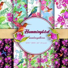 Hummingbirds and flowers. Seamless patterns, Tropical patterns, Watercolor hand painting.Exotic flowers, Hawaiian fabrics.Tropical Paper