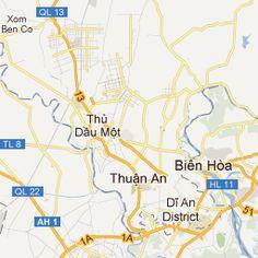This map shows you Bien Hoas location outside Saigon Description