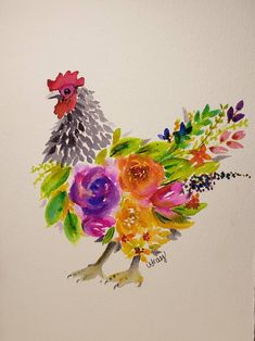 Watercolor Loose Florals Chicken Print Watercolor Loose Florals Chicken Print by LisaGrayCreates on Chicken Painting, Chicken Art, Chicken Animal, Watercolor Artwork, Floral Watercolor, Watercolor Trees, Watercolor Artists, Watercolor Portraits, Watercolor Landscape