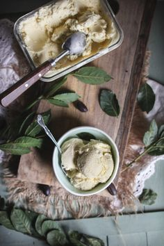 Olive Oil Ice Cream (add basil, then serve w/sea salt to sprinkle on top!) — adventuresincooking.com