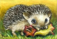 It's mine now - gorgeous little hedgehog happy with his lucky find - a core of an apple 5x7 print of an original painting by Tanya Bond. $12.00, via Etsy.