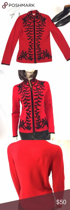 "Boston Proper Festive Red And Black Knit Top Med PERFECT FOR THE HOLIDAY TIME!  Boston Proper's festive red and black zipper top is a size medium and in GOOD CONDITION!  It has some fuzzy from washings, one dot size mark on the right bottom part of the shirt near the black embroidery,  NO TEARS. This is machine washable!  82% Rayon, 14% Nylon, 4% spandex: made in China  32 1/2"" CHEST, 24"" LENGTH, 24"" SLEEVE  SMOKE-FREE-HOME  OPEN TO OFFERS! NO LOWBALLING Boston Proper Tops"