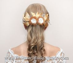 Bridal Headpiece Ivory and gold flower comb by Flowerartstudio