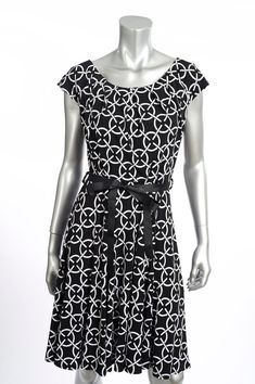 187b0bd4a0ca Joseph Ribkoff Black White Fit-and-Flare Dress with Ribbon Belt 172865 NEW