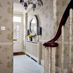 Entryway - modern wallpaper pattern with flowers and white painted entry way furniture for modern foyer decorating Hallway Wallpaper, Hallway Mirror, Of Wallpaper, Modern Wallpaper, Wallpaper Ideas, Interior Wallpaper, Luxury Wallpaper, Hallway Lighting, Modern Entryway
