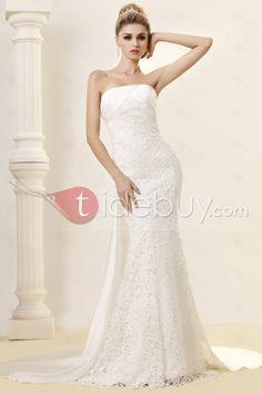 シース/カラムストラップレス床までの長さワトーレースウェディングドレス