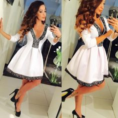 I love this! How about you??? Buy here: http://www.wholesalebuying.com/product/womens-v-neck-3-4-sleeve-floral-lace-splicing-skater-dress-ladies-party-pleated-mini-dress-184527?utm_source=pin&utm_medium=cpc&utm_campaign=ZYWB108