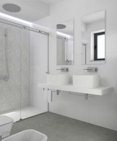 Baño diseñado por Fábrica de Arquitectura para una vivienda plurifamiliar en el centro de Sevilla. Tanto los materiales como los aparatos sanitarios son de la marca Porcelanosa. Alcove, Bathtub, Bathroom, Architecture, Interiors, Gadgets, Projects, Sevilla, Standing Bath