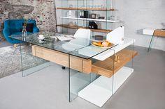Design Schreibtisch ONYX Glas Eiche 160cm - Design Schreibtisch ONYX aus Glas und Mittelstück aus Furnierholz Sie sind auf der Suche nach etwas Besonderem? Der Design Schreibtisch ONYX ist ein Möbelst