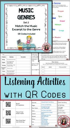 Music Genres Listening Activities with QR Codes for Middle School Music (SET 2)   ♫ CLICK through to read more or save for later!  ♫