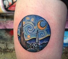 City Meets the Starry Night. As mentioned earlier, starry night is inked in various styles, by variety of artists. So this one gives the scene of starry night over the city. The tattoo uses the same color scheme, but offers a bit different scenario.