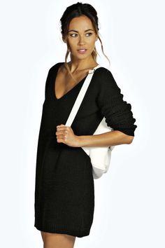 Black dress v neck jumper