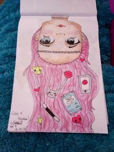Anime art cute upsidedown girl pink hair pastel