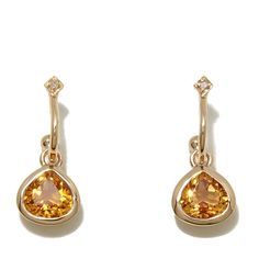 Sevilla Silver™ with Technibond® 1.51ctw Faceted Citrine Diamond-Accented Drop Earrings