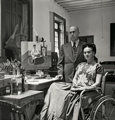 Frida Kahlo at home with Dr. Juan Farill, 1951. Photo from a new book, Frida Kahlo: The Gisèle Freund Photographs, containing more than 100 of Freund's rare images of Frida and Diego