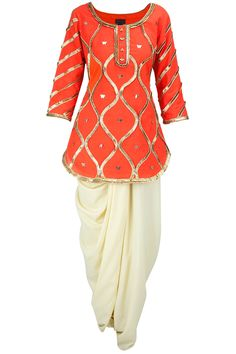 Butterfly jaal kurti with dhoti AYINAT BY TANIYA O'CONNOR. Shop now at: http://www.perniaspopupshop.com/ #perniaspopupshop #vibrant #butterflyjaal #kurti #dhoti #TaniyaO'Connor #designer #label #love #orangeandwhite #gotapleating #happyshopping