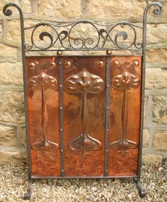 English Craftsman Hammered Copper & Wrought Iron Fire Screen