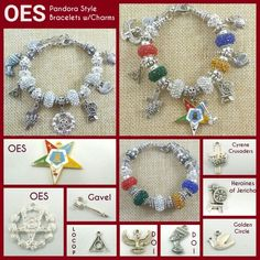 The Order of Eastern Star (OES) Pandora Style Bracelets w/charms from each of the Appendant  Bodies - New collection bracelets hot off the press! #ClassicDesignsGifts #Gifts  #giftideasforher #jewelrydesign #customer #greatcustomerservice #womenstyle #jewelrydesigner #handmadejewelry #pandorabracelet #pandoranecklace #personalized #classic #OES #easternstar #locop #cyrene #goldencircle #heroinesofjericho #hoj #doi #masonictemple #org #organization