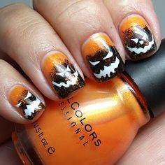 Halloween mani, pumpkins, gradient, orange, black, white,