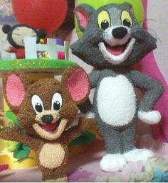 Esculturas 3D de Tom y Jerry textura gamuzada