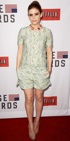 Kate Mara in Mulberry -   Mara dazzled at a House of Cards event in a Mulberry short set with an embellished collar. A sleek bun and nude pumps finished her look.