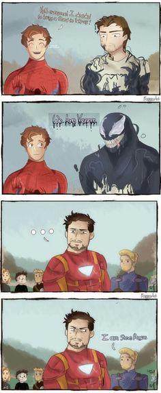 I hope Venom joins the Avengers in Infinity War Part 2 - Marvel - Game of Thrones Avengers Humor, Marvel Avengers, Funny Marvel Memes, Dc Memes, Marvel Jokes, Marvel Art, Marvel Dc Comics, Marvel Heroes, Funny Comics