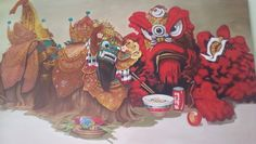 """"""" Leak """" from Bali & """" Barongsai """" from China Rochani's Painting , oil ,on canvas"""