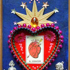 El Corazon Mexican Folk Art Retablo or Valentine. $12.00, via Etsy.
