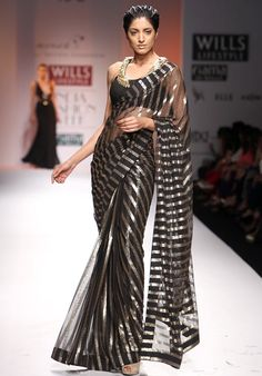 stripes saree