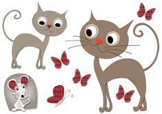 Stickers chat & souris pour décorer la chambre de bébé