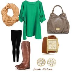 green blouse, black skinnies, brown riding boots, grey purse, neutral scarf.  brown leather watch, stud earrings