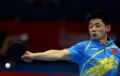 Zhang Jike of China returns the ball during his Men's Singles Table Tennis third round match against Bora Vang of Turkey on Day 3 of the London 2012 Olympic Games at ExCeL on July 30, 2012 in London, England.