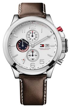 Tommy Hilfiger Chronograph Leather Strap Watch available at #Nordstrom
