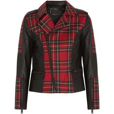 Karl Lagerfeld Vicious leather-trimmed tartan wool biker jacket found on Polyvore