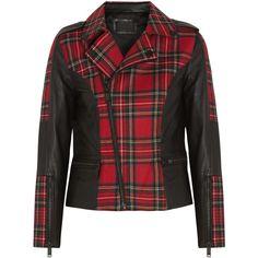 Karl Lagerfeld Vicious leather-trimmed tartan wool biker jacket (650 BRL) ❤ liked on Polyvore featuring outerwear, jackets, coats, coats & jackets, biker jackets, black, multi colored jacket, wool moto jacket, wool biker jacket and wool motorcycle jacket
