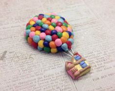 "Balloon House Brooch/Magnet, Polymer Clay, Disney Pixar ""Up"" Inspired"