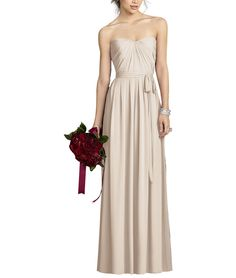 DescriptionAfter Six Style 6678Fulllength bridesmaid dressStrapless sweetheart necklinePleated bodice Pleated full skirtMatching sash at natural waistOptional spaghetti straps includedLux chiffon
