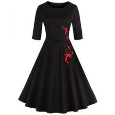 Retro Style Round Neck Floral Embroidery Women's Dress (BLACK,XL) in Vintage Dresses | DressLily.com