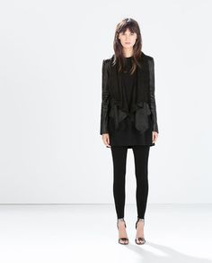 ZARA - COLLECTION SS15 - LEATHER JACKET WITH POINTED HEM